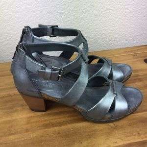 NEW Bussola Gray Leather Heel Sandal Anthro 38